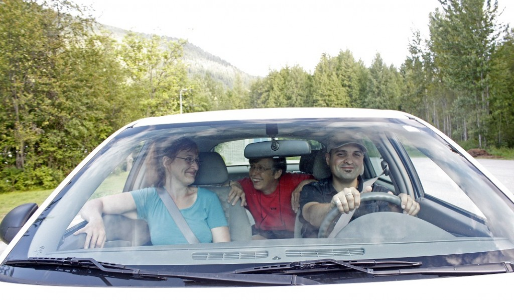 Three members taking a ride in a Kootenay Carshare Co-op Car